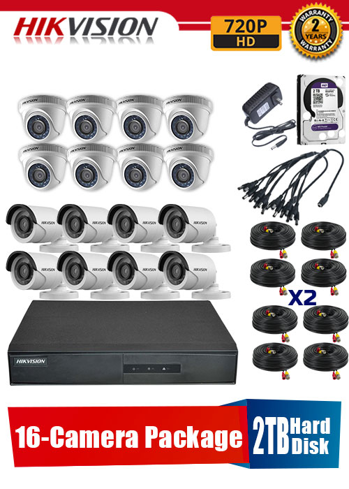 Hikvision 720P 16-Camera CCTV Package with 2TB Hard Disk