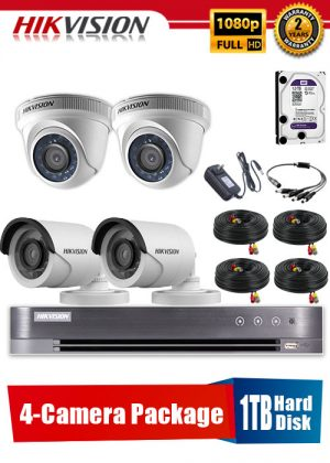 Hikvision 1080P 4-Camera CCTV Package with 1TB Hard Disk