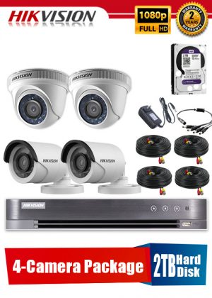 Hikvision 1080P 4-Camera CCTV Package with 2TB Hard Disk