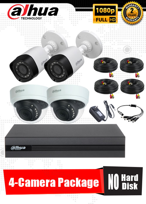 Dahua 1080P 4-Camera CCTV Package No Hard Disk