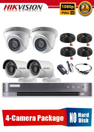 Hikvision 1080P 4-Camera CCTV Package No Hard Disk