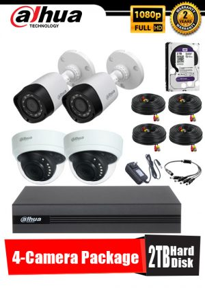 Dahua 1080P 4-Camera CCTV Package with 2TB Hard Disk