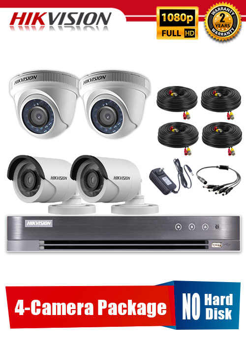 Hikvision 1080P 4-Camera CCTV Package No Hard Disk