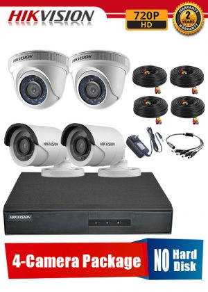 Hikvision 720P 4-Camera CCTV Package No Hard Disk