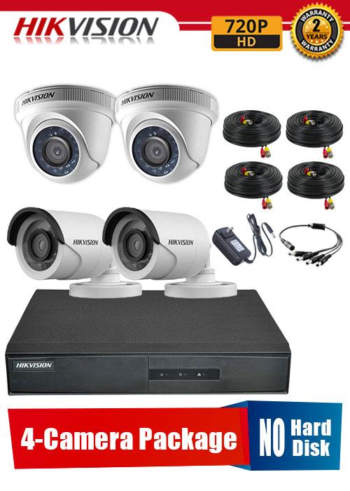 Hikvision 720P 4-Camera CCTV Package No Hard Disk