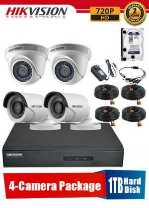 Hikvision 720P 4-Camera CCTV Package with 1TB Hard Disk