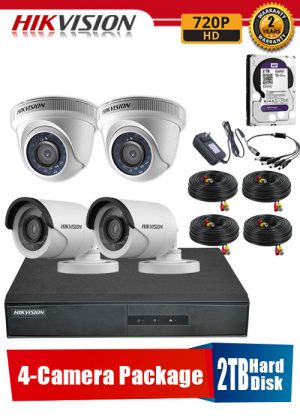 Hikvision 720P 4-Camera CCTV Package with 2TB Hard Disk