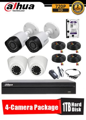 Dahua 720P 4-Camera CCTV Package with 1TB Hard Disk
