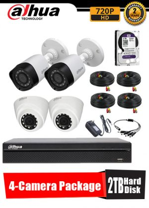 Dahua 720P 4-Camera CCTV Package with 2TB Hard Disk