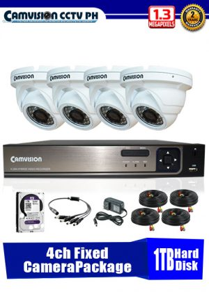 Camvision 960P 4-Fixed Camera CCTV Package with 1TB Hard Disk Drive
