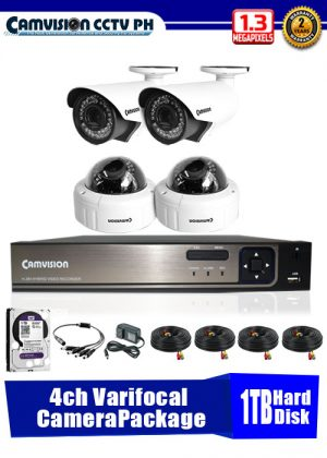 Camvision 960P 4-Varifocal Camera CCTV Package with 1TB Hard Disk Drive