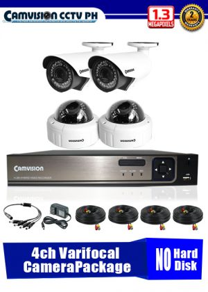 Camvision 960P 4-Varifocal Camera CCTV Package No Hard Disk Drive