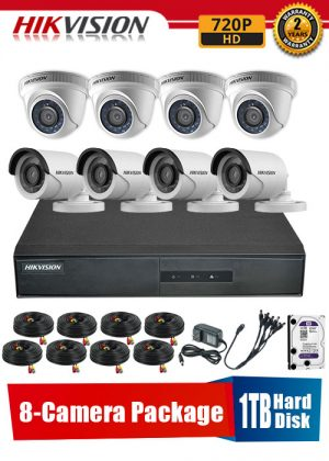 Hikvision 720P 8-Camera CCTV Package with 1TB Hard Disk
