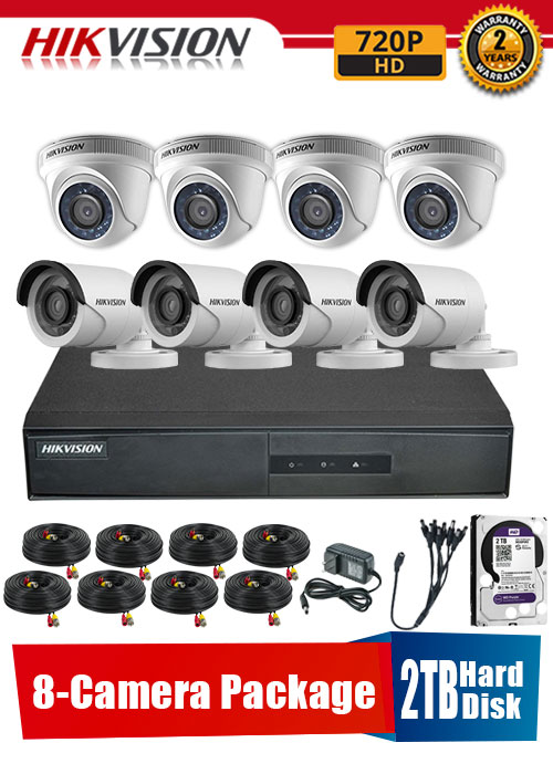 Hikvision 720P 8-Camera CCTV Package with 2TB Hard Disk