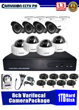 Camvision 960P 8-Varifocal Camera CCTV Package with 1TB Hard Disk Drive