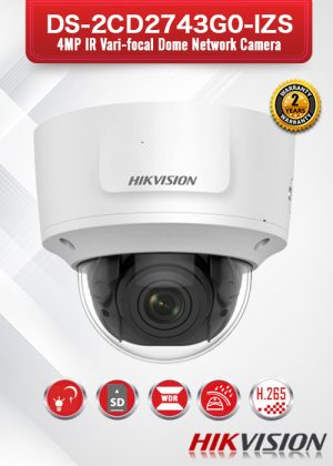 Hikvision 4MP IR Varifocal Dome Network Camera - DS-2CD2743G0-IZS