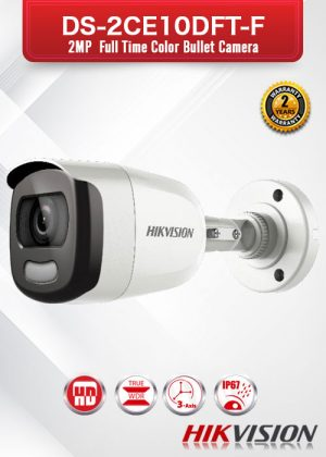 Hikvision 2MP Full Time Color Bullet Camera - DS-2CE10DFT-F