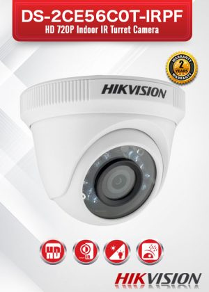 Hikvision HD720P Indoor IR Turret Camera - DS-2CE56C0T-IRPF