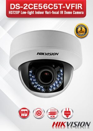 Hikvision HD720P Low-light Indoor Varifocal IR Dome Camera - DS-2CE56C5T-VFIR