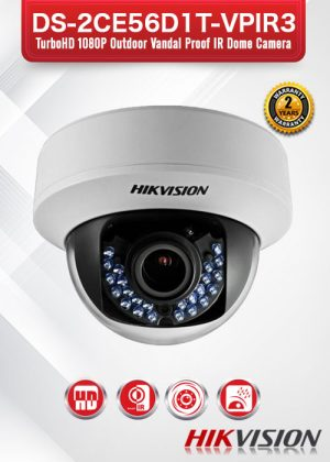 Hikvision HD1080P Vandal Proof IR Dome Camera - DS-2CE56D1T-VPIR3