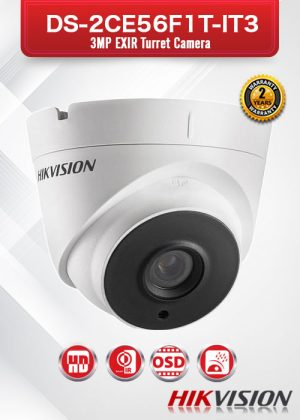 Hikvision 3MP EXIR Turret Camera - DS-2CE56F1T-IT3